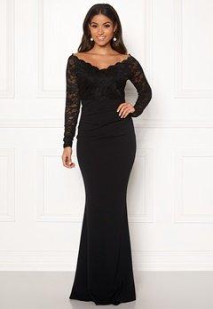 Goddiva Lace Trim Maxi Dress Black Bubbleroom.no
