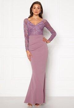 Goddiva Lace Trim Maxi Dress Dusty Lavandel Bubbleroom.no