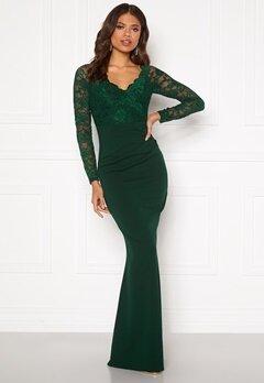 Goddiva Lace Trim Maxi Dress Emerald Bubbleroom.no
