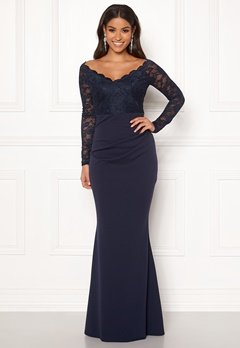 Goddiva Lace Trim Maxi Dress Navy Bubbleroom.no