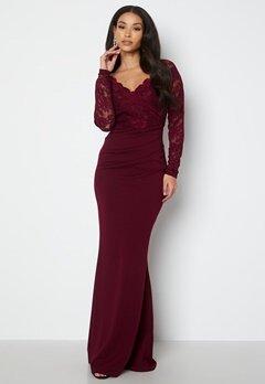Goddiva Lace Trim Maxi Dress Wine bubbleroom.no