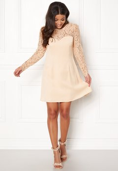 Goddiva Lace Trim Skater Dress Nude Bubbleroom.no