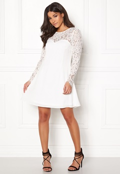 Goddiva Lace Trim Skater Dress White Bubbleroom.no