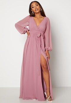 Goddiva Long Sleeve Chiffon Dress Dusty Lavendel Bubbleroom.no