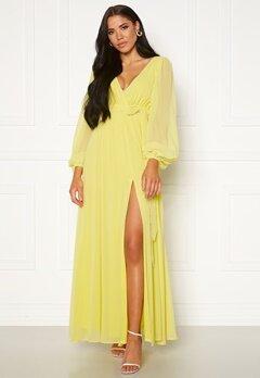 Goddiva Long Sleeve Chiffon Dress Lemon Bubbleroom.no