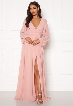Goddiva Long Sleeve Chiffon Dress Peach Bubbleroom.no