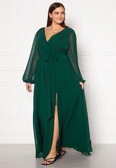 Goddiva Long Sleeve Chiffon Maxi Curve Dress Green Bubbleroom.no