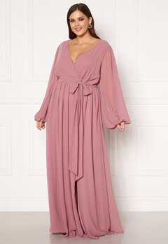 Goddiva Long Sleeve Chiffon Maxi Curve Dress Dusty Pink Bubbleroom.no