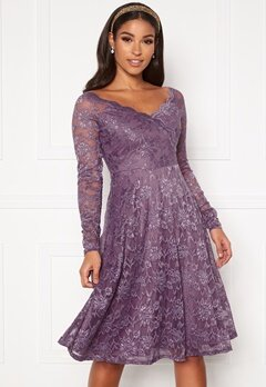 Goddiva Long Sleeve Lace Dress Dusty Lavender Bubbleroom.no