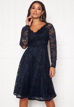 Goddiva Long Sleeve Lace Dress Navy Bubbleroom.no