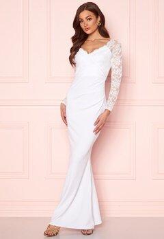Goddiva Long Sleeve Lace Dress White Bubbleroom.no