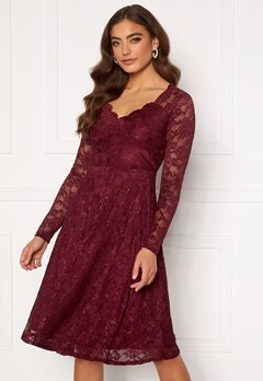 Goddiva Long Sleeve Lace Midi Dress Wine Bubbleroom.no