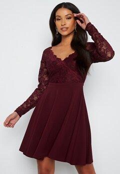 Goddiva Long Sleeve Lace Skater Dress Dark Wine bubbleroom.no