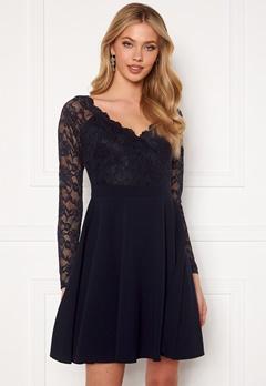 Goddiva Long Sleeve Lace Skater Dress Navy Bubbleroom.no