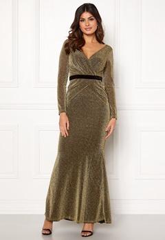 Goddiva Lurex Crossover Dress Gold Bubbleroom.no