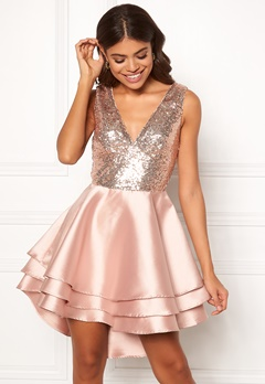 Goddiva Multi Layered Satin Dress Champagne Bubbleroom.no