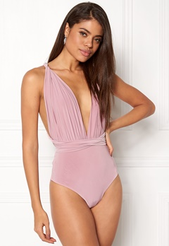 Goddiva Multi Tie Bodysuit Dusty pink Bubbleroom.no