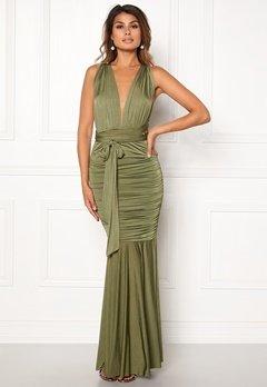 Goddiva Multi Tie Fishtail Dress Olive Bubbleroom.no