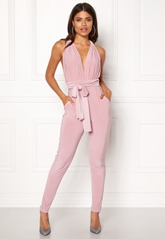 Goddiva Multi Tie Jumpsuit Dusty Pink Bubbleroom.no