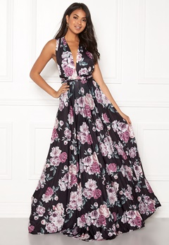 Goddiva Multi Tie Maxi Dress Black Floral Bubbleroom.no
