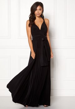 Goddiva Multi Tie Maxi Dress Black Bubbleroom.no