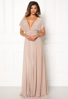 Goddiva Multi Tie Maxi Dress Latte Bubbleroom.no