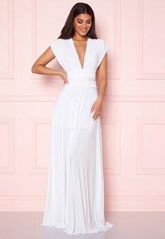 Goddiva Multi Tie Maxi Dress White Bubbleroom.no