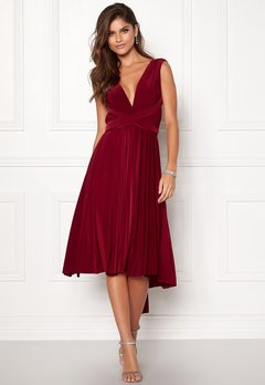 Goddiva Multi Tie Midi Dress Berry Bubbleroom.no