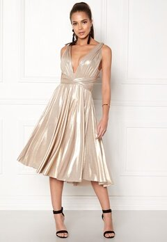 Goddiva Multi Tie Midi Dress Gold Bubbleroom.no