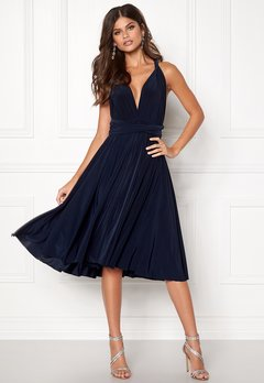 Goddiva Multi Tie Midi Dress Navy Bubbleroom.no
