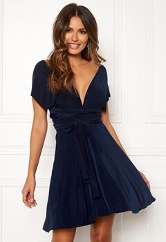 Goddiva Multi Tie Skater Dress Navy Bubbleroom.no