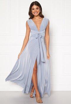 Goddiva Multi Tie Wrap Maxi Dress Dusty Blue Bubbleroom.no