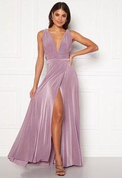 Goddiva Multi Tie Wrap Maxi Dress Dusty Lavendel Bubbleroom.no