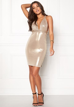 Goddiva Multi Way Metallic Dress Gull Bubbleroom.no