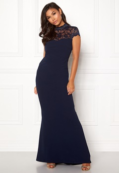 Goddiva Open Back Lace Maxi Dress Navy Bubbleroom.no