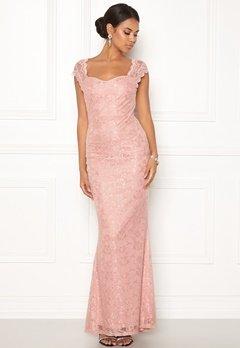 Goddiva Open Back Lace Maxi Dress Nude Bubbleroom.no