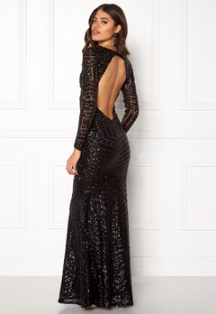 Goddiva Open Back Sequin Dress Black Bubbleroom.no