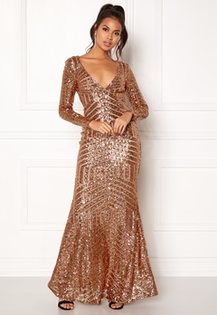 Goddiva Open Back Sequin Dress Champagne Bubbleroom.no