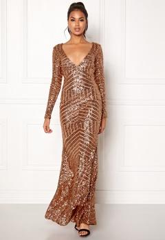 Goddiva Open Back Sequin Dress Champagne Bubbleroom.no