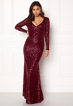 Goddiva Open Back Sequin Dress Wine Bubbleroom.no