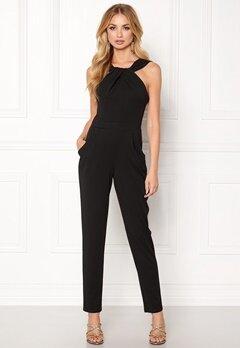 Goddiva Pleat Neckline Jumpsuit Black Bubbleroom.no