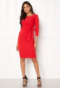 Goddiva Pleated Midi Tie Dress Red Bubbleroom.no
