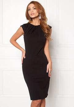 Goddiva Pleated Neckline Dress Black 1 Bubbleroom.no