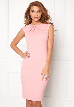 Goddiva Pleated Neckline Dress Pink Bubbleroom.no