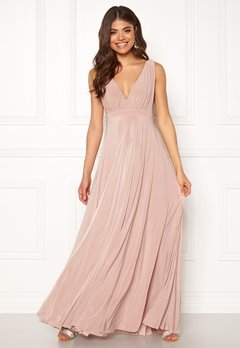 Goddiva Pleated Oscar Maxi Dress Latte Bubbleroom.no