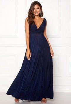 Goddiva Pleated Osvar Dress. Navy Bubbleroom.no