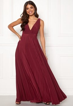 Goddiva Pleated Oscar Dress Wine Bubbleroom.no