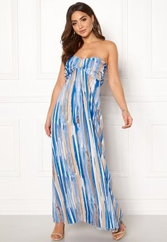 Goddiva Resort Bandeau Maxi Dress Blue Multi Bubbleroom.no