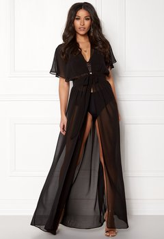 Goddiva Resort Chiffon Maxi Kaftan Black Bubbleroom.no
