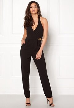 Goddiva Resort Gold Buckle Jumpsuit Black Bubbleroom.no